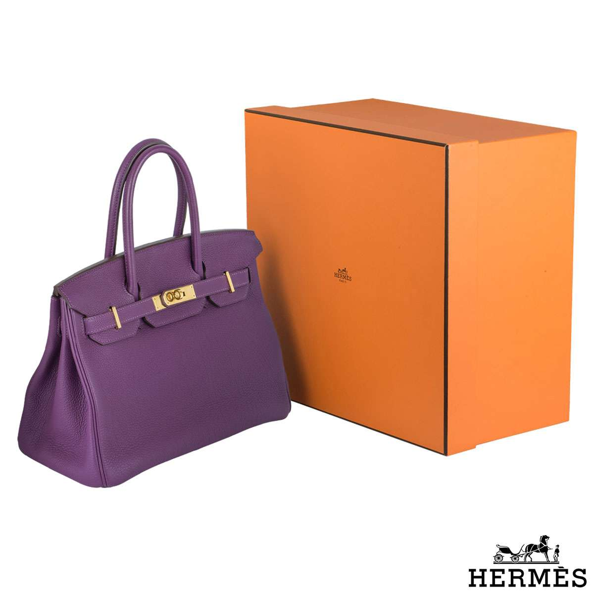 Hermes Birkin 30 cm Fjord leather Anemone Handbag